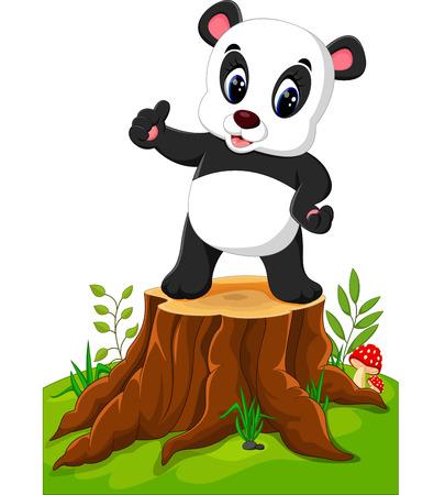 trees illustration: Cartoon panda posing on tree stump