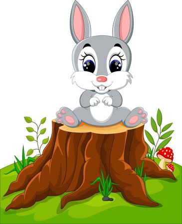 ester: Cartoon Easter Bunny on tree stump