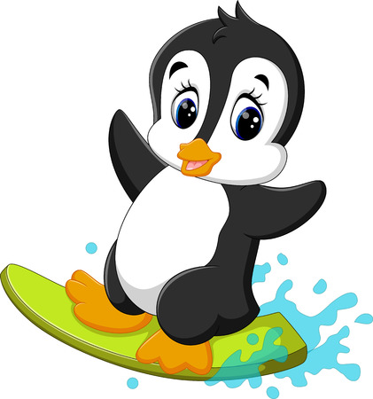 wave surfing: illustration of cute penguin surfing cartoon