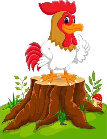 invincible: Cartoon chicken rooster on tree stump