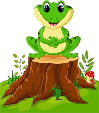 Cartoon funny frog Illustration