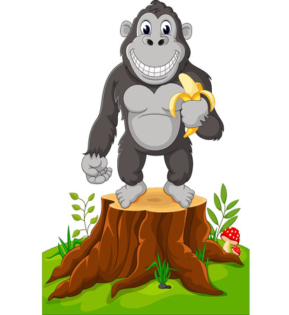 Gorilla cartoon standing on tree stump
