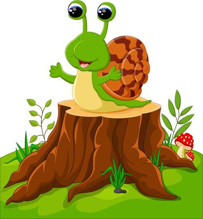 creep: Cute snail isolated on tree stump Illustration