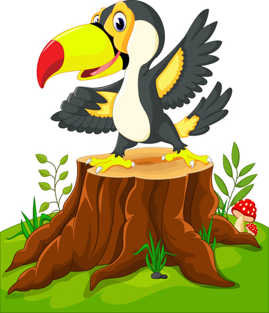 Cartoon happy toucan on tree stump