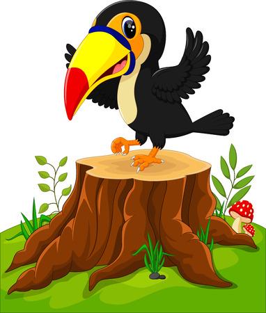 tree stump: Cartoon happy toucan on tree stump