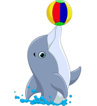 aqua park: Happy dolphin cartoon playing ball