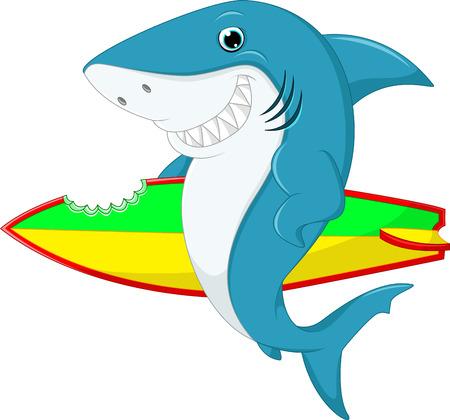 terrified: Cute shark surfing cartoon Stock Photo