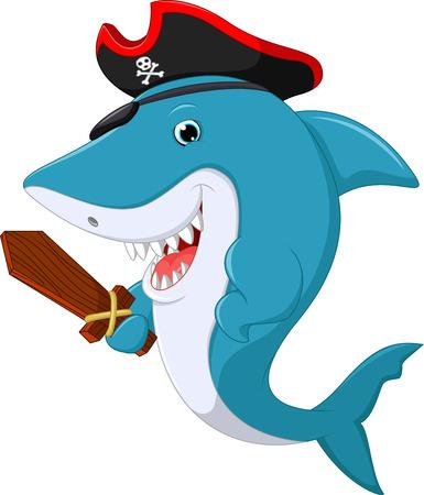 illustration of Cute shark pirate cartoon Stock Photo