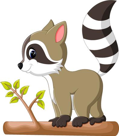 cute raccoon cartoon walking on the tree