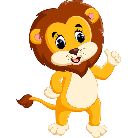hand stand: Cute lion cartoon giving thumb up