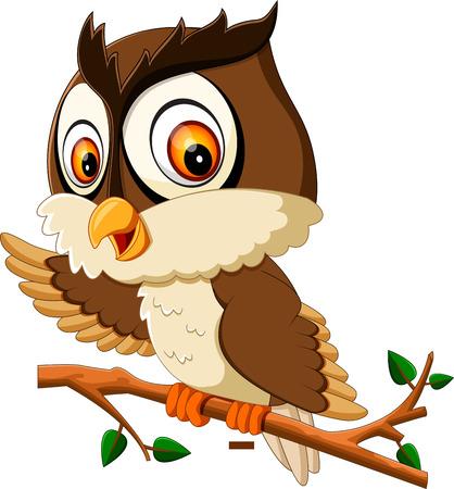 cute owl cartoon on tree