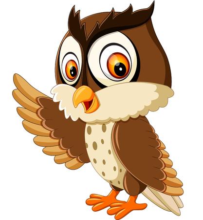 cute owl cartoon presentation Stock Photo