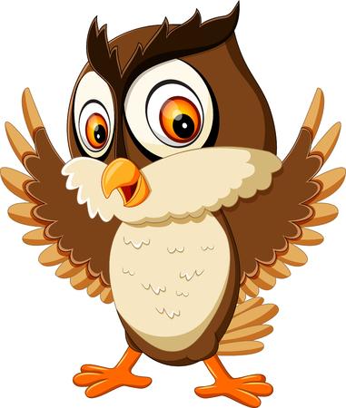 happy cute owl cartoon