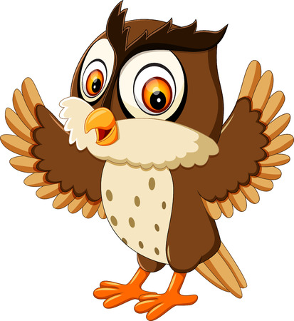 happy cute owl cartoon
