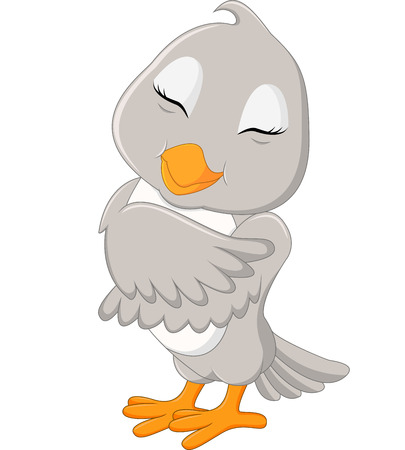 Cute gray bird cartoon
