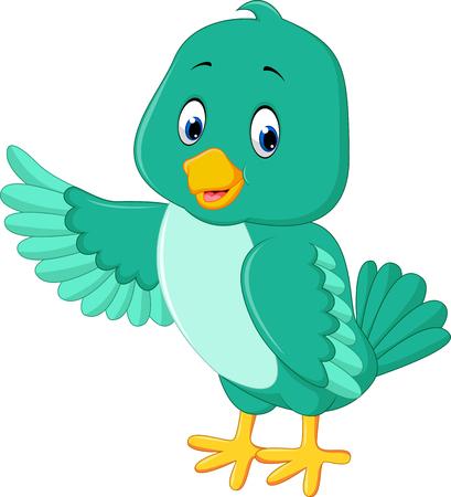 tweet icon: Cute green bird cartoon Illustration