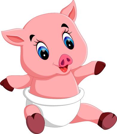 Cute baby pig cartoon