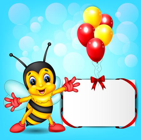 cute bee cartoon with balloon frame