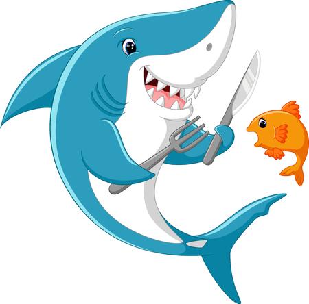 terrified: Cute shark cartoon ready to eat little fish Illustration