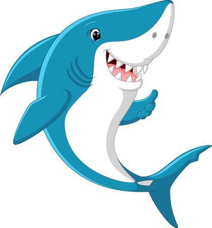 귀여운 상어 엄지 손가락을 포기 일러스트