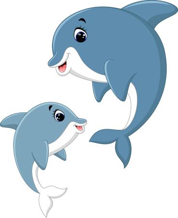 illustration of Cute dolphin couple cartoon Illustration