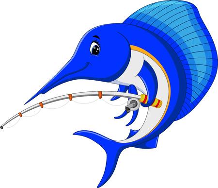 pez vela: ilustración de dibujos animados Marlin pescado con caña de pescar