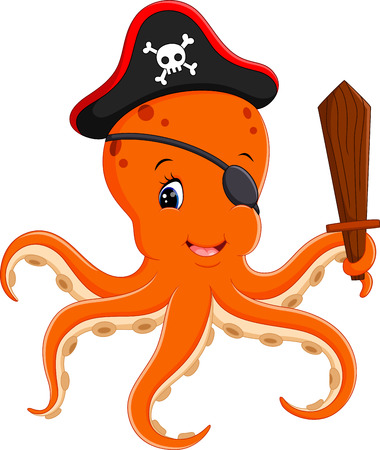 costume eye patch: illustration of Cartoon pirate octopus