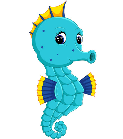 Cartoon watercolor Seahorse Illustration