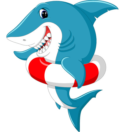 Cute shark cartoon with inflatable ring Stock Photo