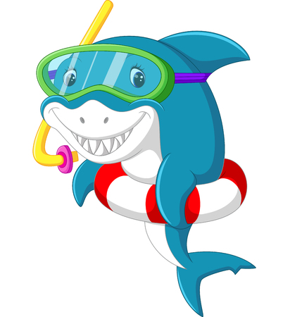 snorkle: Cute shark cartoon with inflatable ring Stock Photo