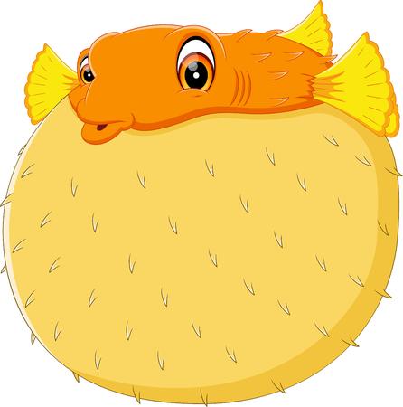 illustration of Cartoon funny puffer fish