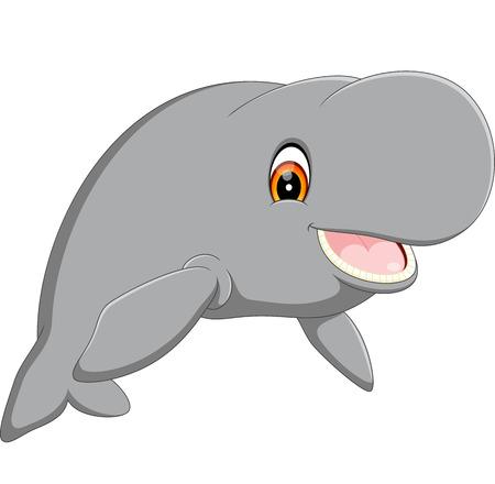 herbivorous animals: Cute cartoon manatee Stock Photo