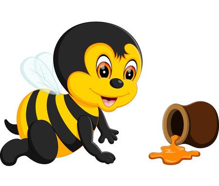 pollinate: cute Bee cartoon of illustration