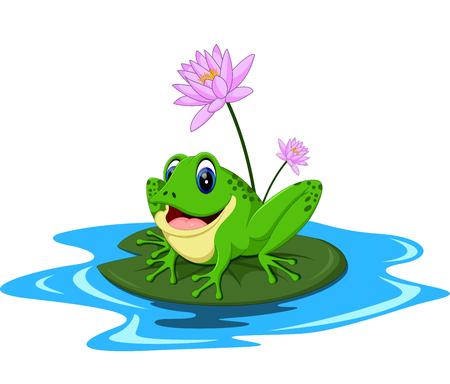 Divertidos dibujos animados de la rana verde que se sienta en una hoja Foto de archivo - 60992856