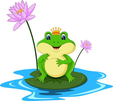 lily pad: funny Green frog cartoon sitting on a leaf