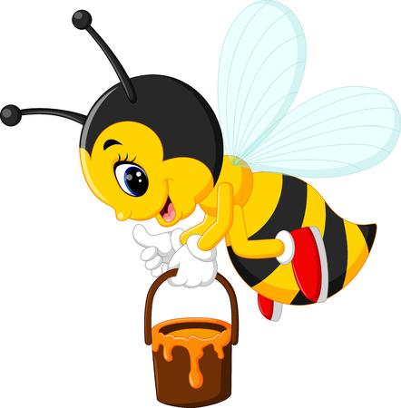 pollinate: illustration of cute bee cartoon Stock Photo