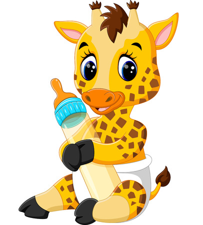 Cute giraffe cartoon of illustration Stock fotó