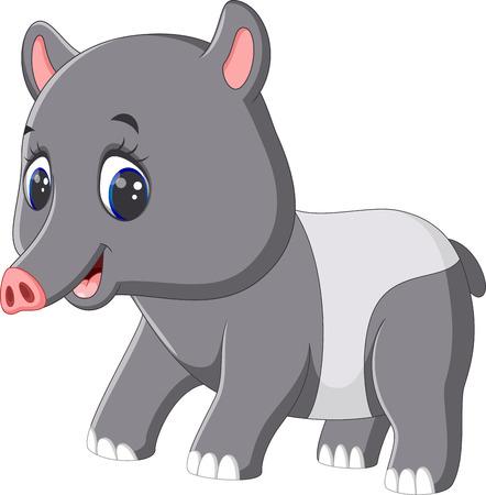 cute cartoon: Cute tapir cartoon