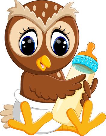 cute owl cartoon Stock Photo
