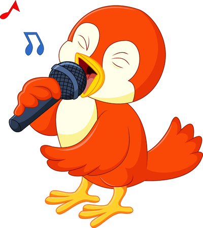 birdsong: Cute orange bird singing