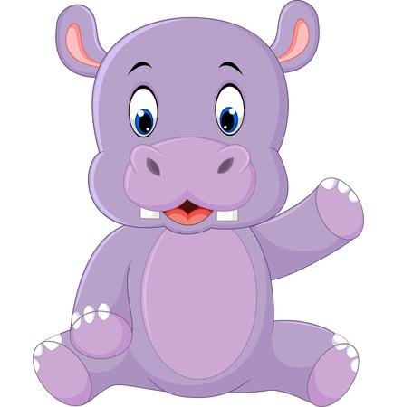 hipopotamo caricatura: Historieta linda del hipop�tamo Vectores