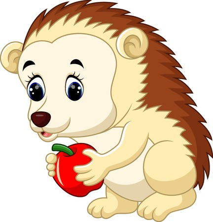 prickly fruit: Cute hedgehog cartoon Illustration
