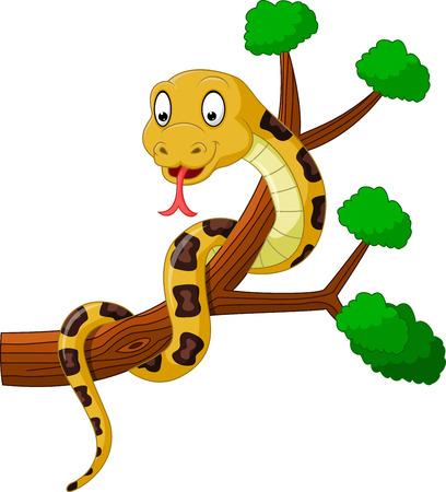 Cartoon brown snake on branch Illustration