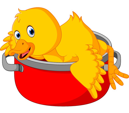 Cartoon funny duck being cooked in a pan