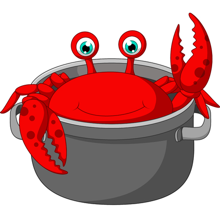 crab pots: Cartoon funny crab being cooked in a pan