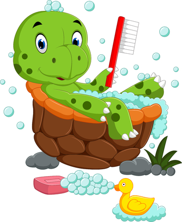 bathing: Cute turtle bathing Illustration