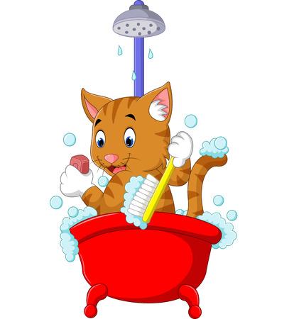 bathing: cute Cat bathing time