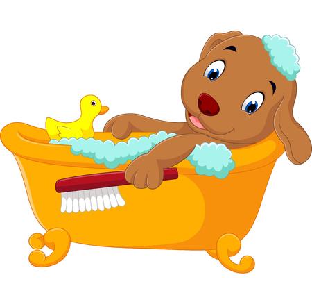 scrubbing: cute dog bathing time Illustration