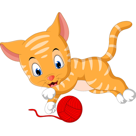 Cute cat cartoon playing with ball of yarn