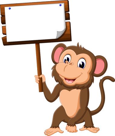 boarding: cute monkey cartoon